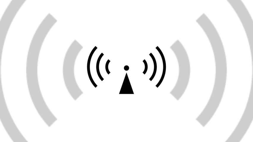 Animation using the internationally recognized non ionizing radiation symbol on a white background with the radiation waves pulsing from the radio tower and outwards and towards the viewer.