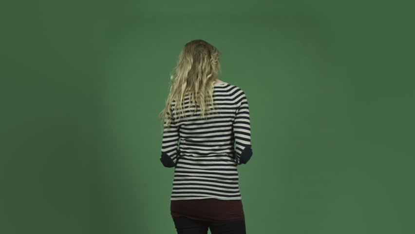Caucasian woman isolated on chroma green screen background romance rose love | Shutterstock HD Video #6363023