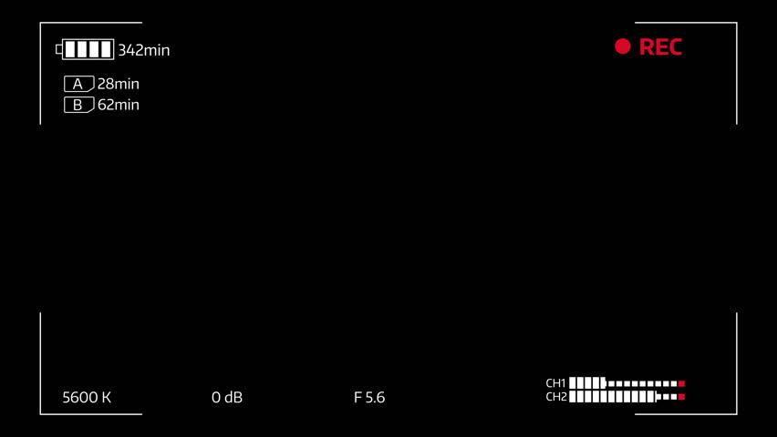 Camera viewfinder digital overlay display loop - 4k. Luma matte included.