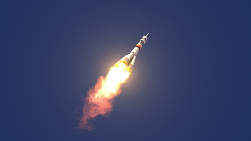 Carrier Rocket Takes Off. 3D Animation.
