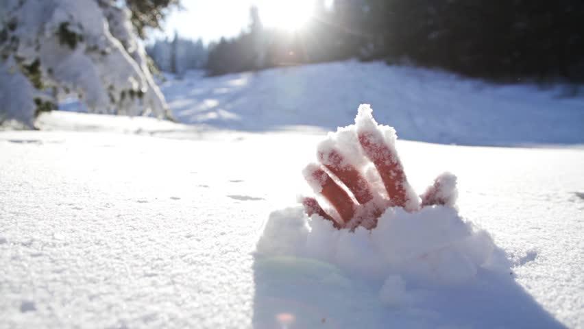 Savior Salvation Religion Concept Mountain Man Snow Avalanche