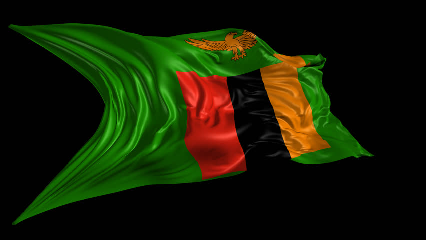 Flag Of Zambia Waving In The Wind. Seamless Looping. 3d ...