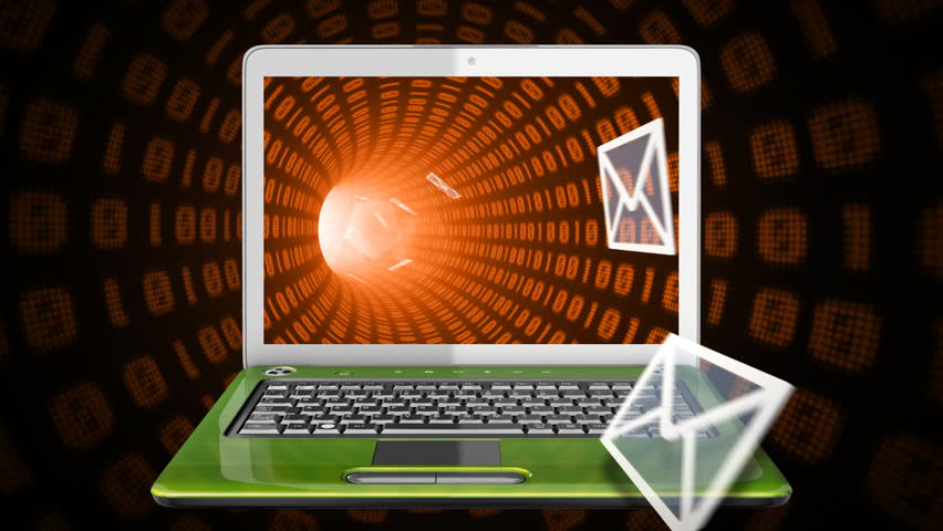 Envelopes flying in and out of a laptop screen that moves in binary tunnel.  - HD stock video clip