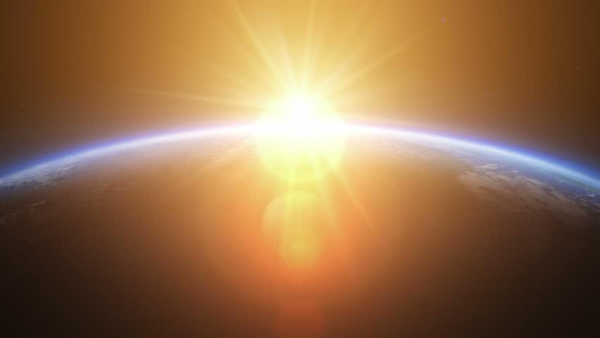 Sunrise over Asia. Beautiful sunrise seen from space.