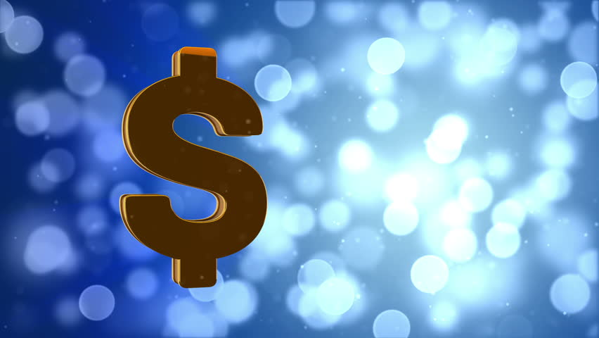 rotate golden dollar sign on abstract golden background