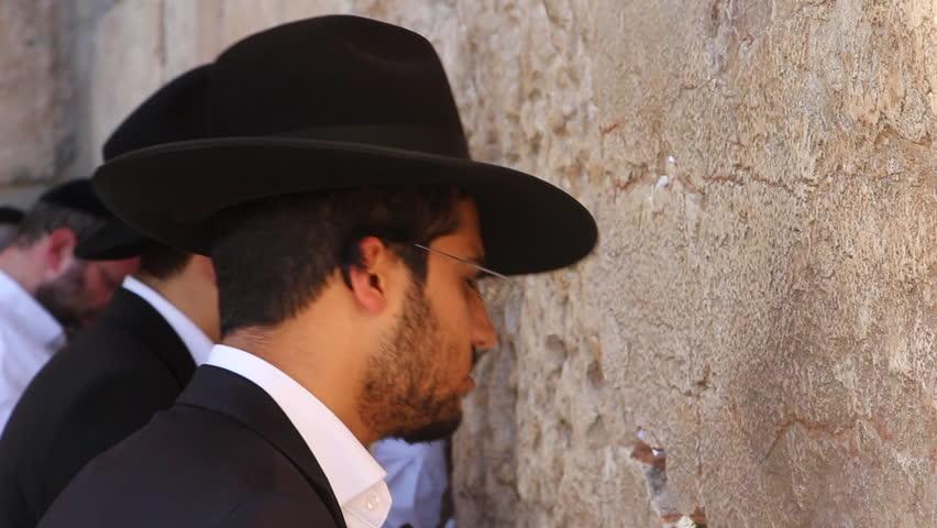 JERUSALEM, ISRAEL - MAY 1: Prayers at The Western Wall May 1, 2014 in Jerusalem, Israel