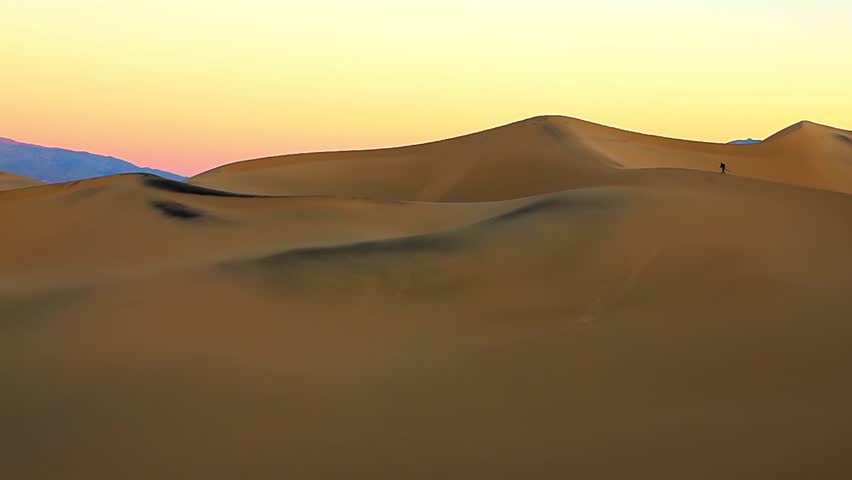 Sunrise at the at the huge sand dunes of Death Valley National Park, California, USA - HD stock video clip