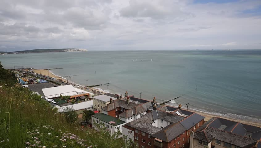 Shanklin Isle of Wight a tourist town on the east coast of this English island, view to Culver Down - HD stock footage clip