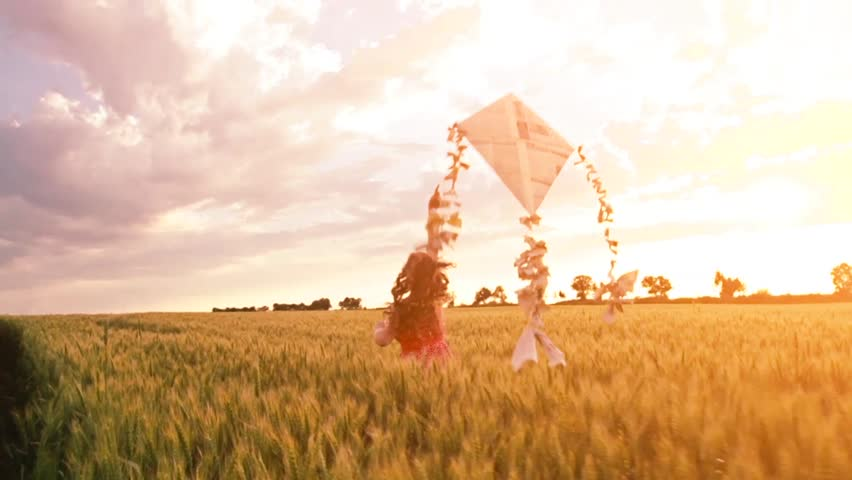 Woman Running Kite Sunset Field Summer Vacation Freedom