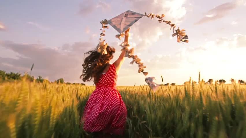 Beautiful Woman Red Summer Dress Running Kite Sunset