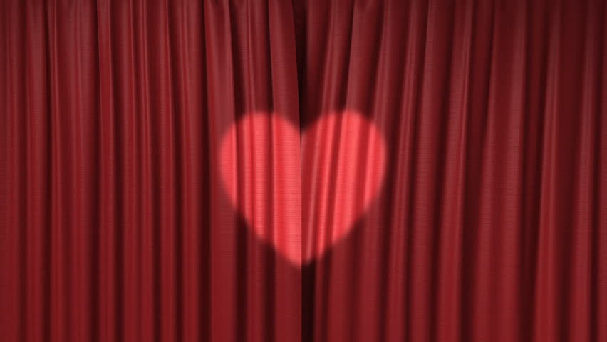 Opening red curtain with the heart light, 3d animation - HD stock footage clip