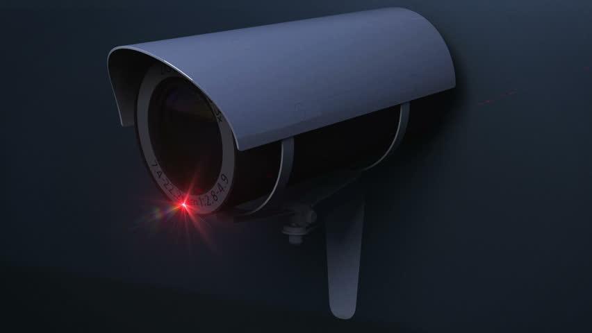 Security CCTV camera close up monitoring loop