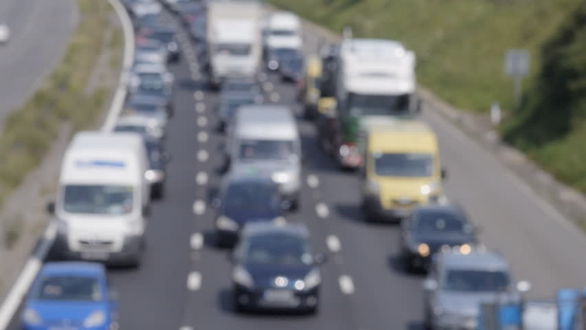 Out of focus slow traffic on M4 Motorway, UK | Shutterstock HD Video #6589292