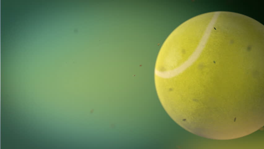 Tennis ball on  green background whit particles
