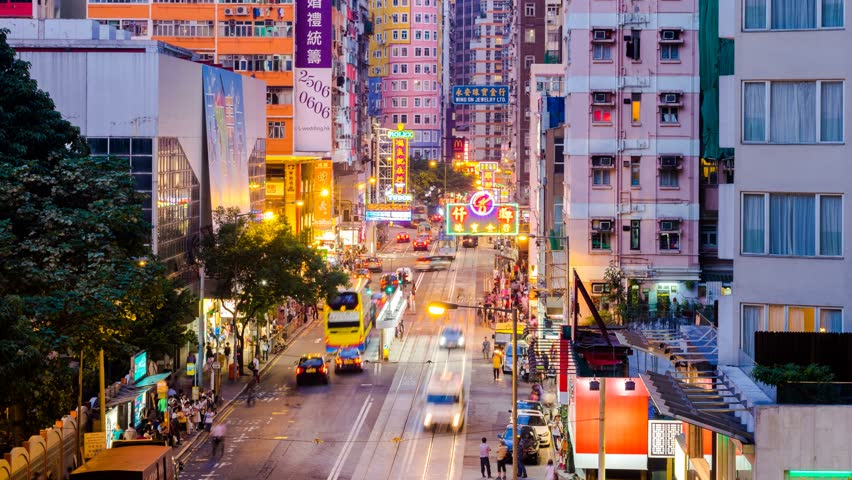 HONG KONG - 13 SEPT: Timelapse view of people on the streets Hong Kong city at Wan Chai. Hong Kong is a major financial hub in the Asia region on 13 September 2013 in Hong Kong, China | Shutterstock HD Video #6600083