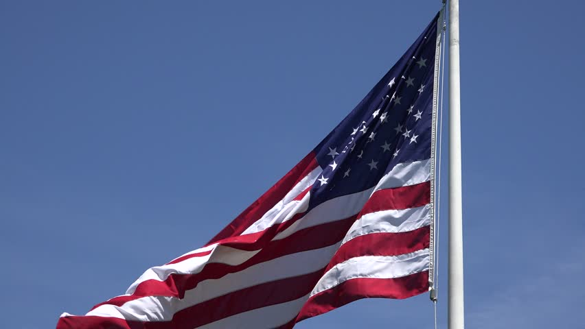American Flags, United States, 4th of July - 4K stock video clip