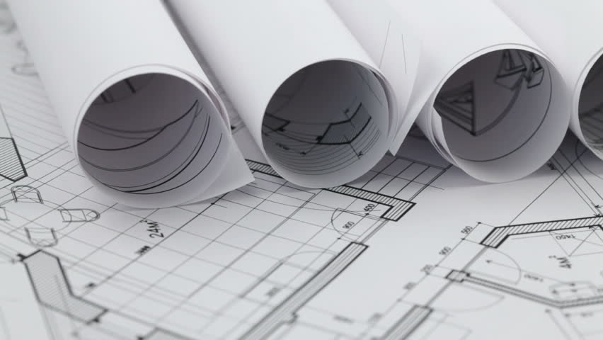 rolls of architectural blueprints - HD stock video clip