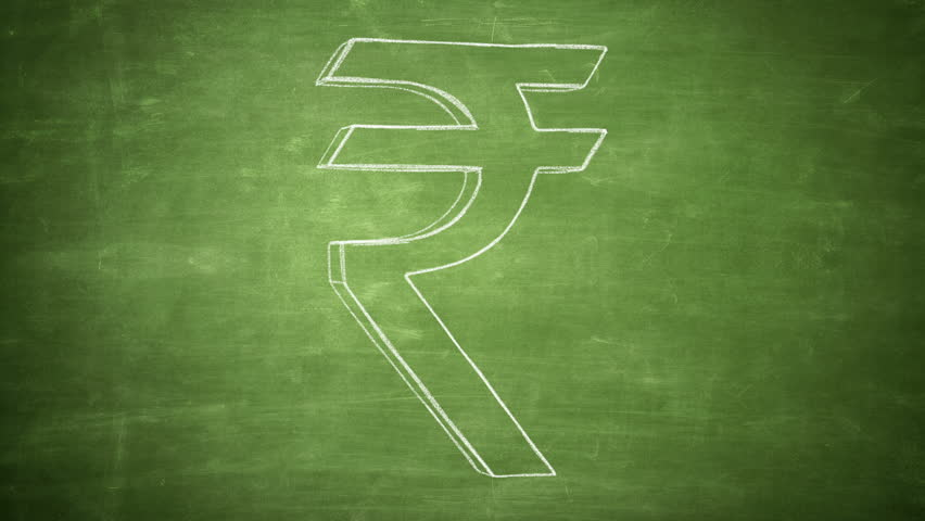 Hand drawn rupee sign rotating on the green chalkboard. Seamless loop animation. Another versions available - check my profile. - HD stock footage clip