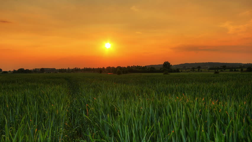 Sunset over fields, hd motion control time lapse clip, high dynamic range imaging