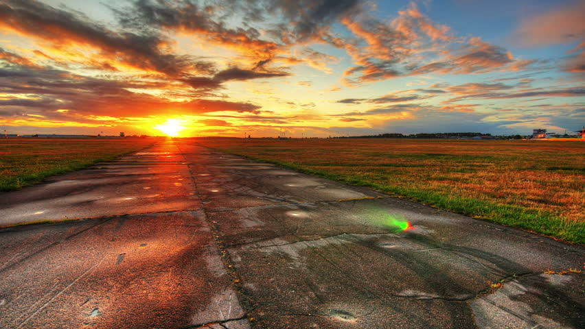 Sunset over old road, hd motion control time lapse clip, high dynamic range imaging