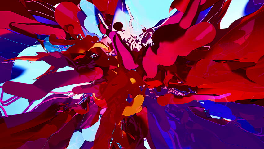 Centered Cartoon Paint Gel Reveal Background/Stylized cartoon gel particles reveal full frame over black background.