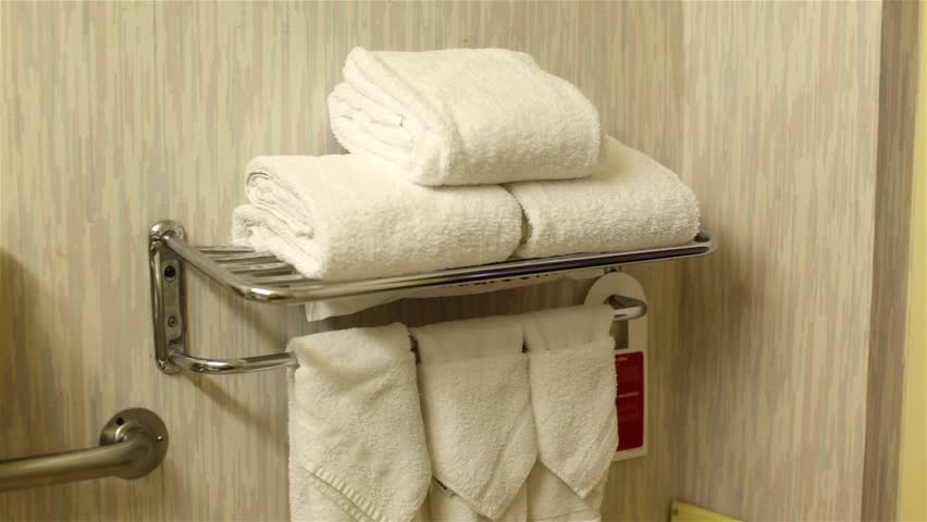 Towel setup in the bathroom of a budget motel.