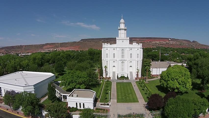 St George Utah Jun 2014 Aerial Lds Mormon Temple St George Utah Fountain First Temple The