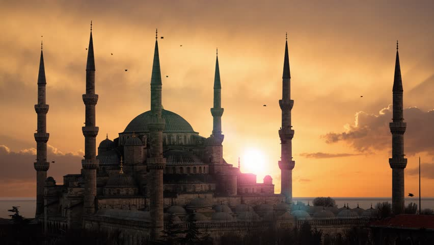 The Blue Mosque (Sultanahmet) during sunset in Istanbul Turkey