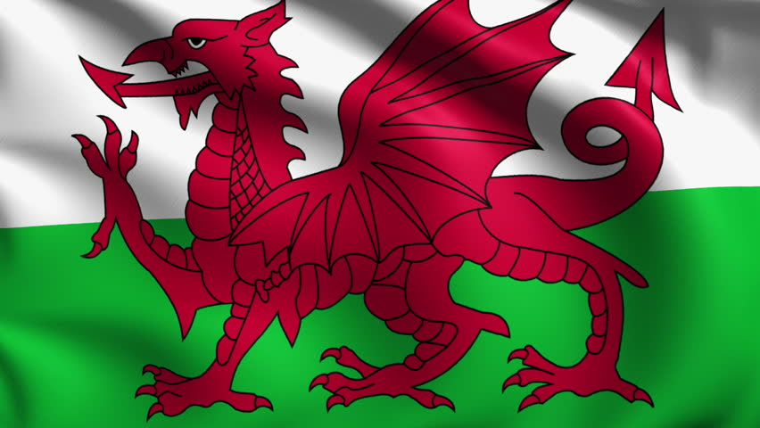 Flag Of Wales Gently Waving In The Wind. Loop Ready File ...