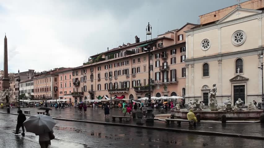 ROME, ITALY - JUNE 18, 2014: Video of Navona Square during the rain which has hit with violence Rome for the fourth consecutive day.