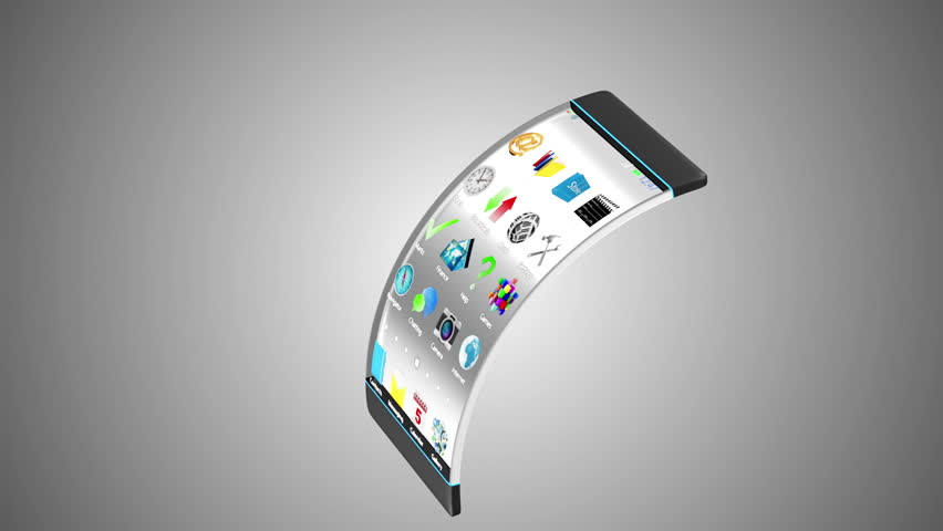 Advanced Technology and Innovation Concept. Modern Touchscreen Smart Phone with Transparent Display and Flexible Structure. Seamless Looping HQ Animation with Alpha Channel