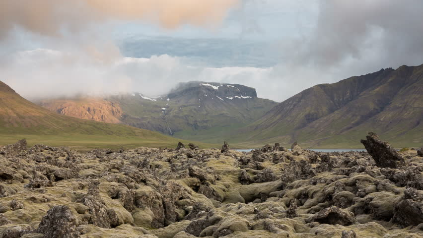 4K Version of Time Lapse of the expansive moss-covered lava fields and mountain in Iceland (available in 4K)