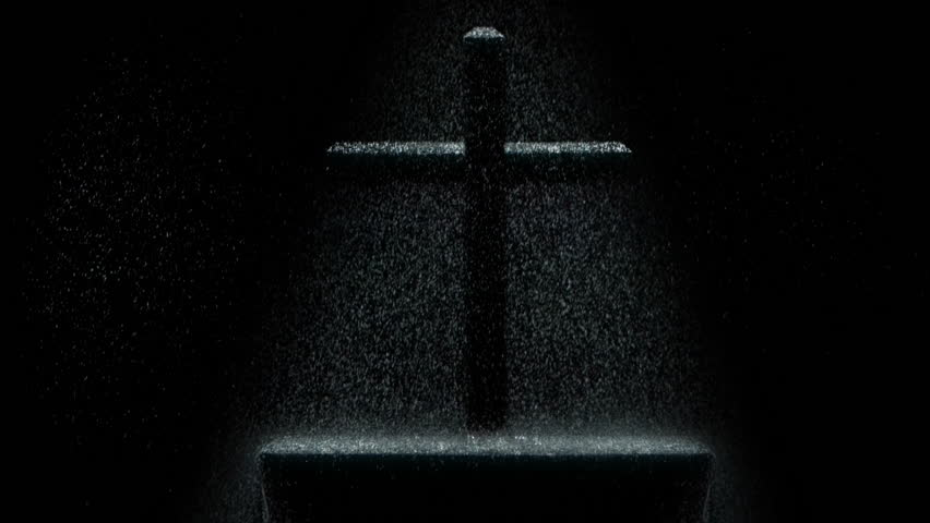 Dark scene with a cross in the rain over an altar. - HD stock footage clip