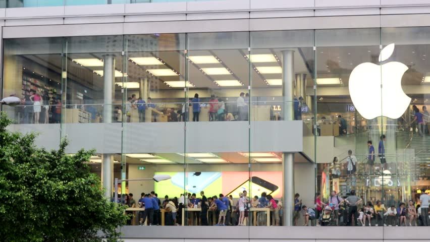 HONG KONG, CHINA - CIRCA JUNE 2014: Apple Store in the city center. The first Apple Store in Hong Kong, being the 100th overseas store outside the USA opened on September 24, 2011.