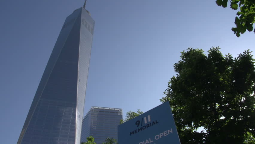 9/11 Memorial Sign And The Freedom Tower In Manhattan, New ...