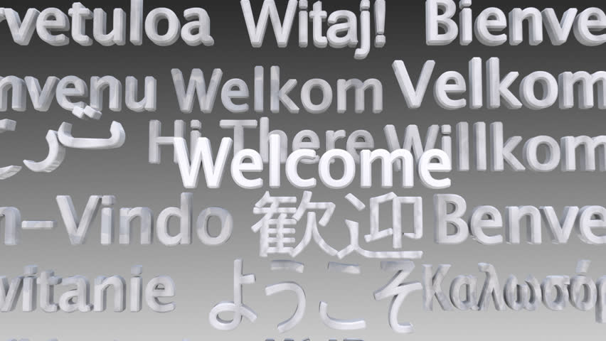 "Say ""Welcome"" to your International guests at your conference, seminar, lecture. This stylish computer graphic is designed white so as not to clash with conference graphics but could be easily tinted."