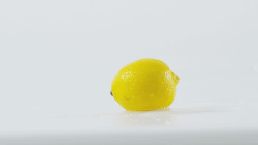 Lemon splashing, slow motion