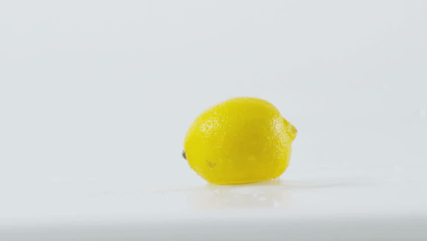 Lemon splashing, slow motion