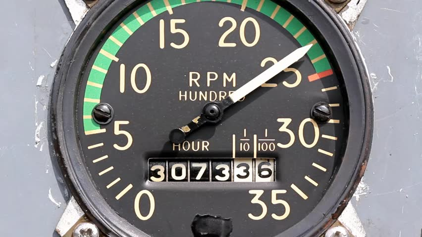 Mechanical Tachometer With Hour Meter Gauge : Mechanical old model tachometer and hour meter macro shows