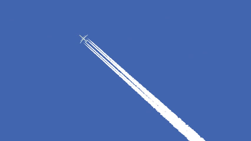 Jet airplane with trail against the blue sky - HD stock footage clip