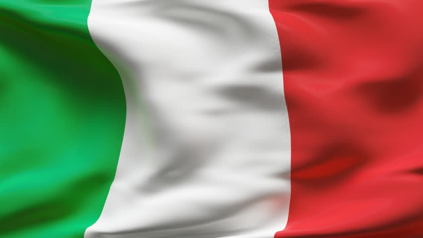 Creased Italian flag in slow motion with visible wrinkles and seams - HD stock footage clip