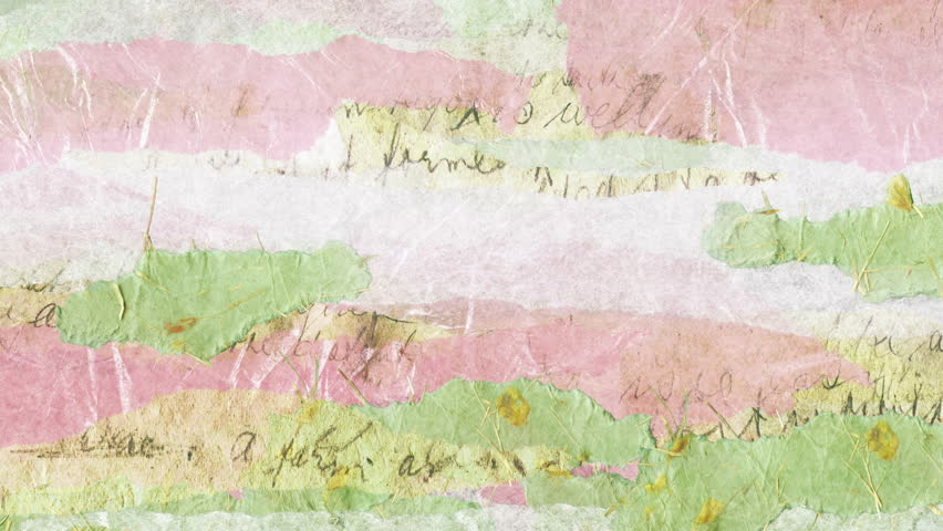 Scrapbook background texture animation loop. A collage of layers of torn tissue paper, handmade paper and fragments of an old-fashioned handwritten letter. In 4K ultra HD and smaller sizes.