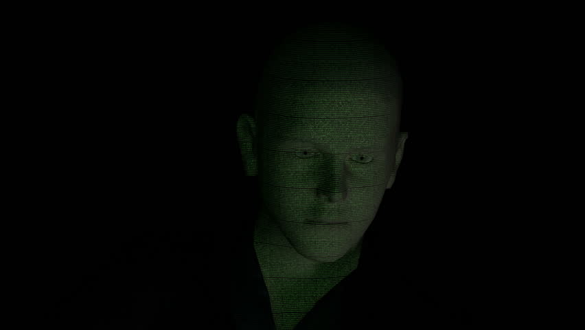 Cyber male with binary code on face front version