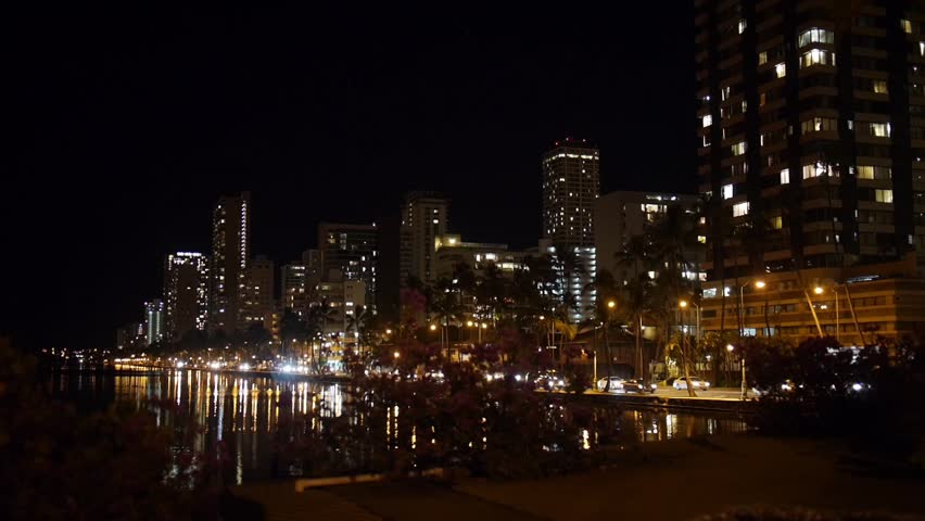 Honolulu, Hawaii - June, 2014 - Wide shot of traffic along Ala Wai Boulevard.