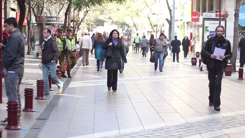 Busy Street Sidewalk SANTIAGO, CHILE - A SI...
