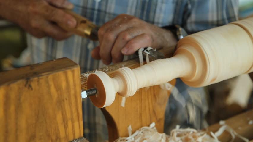Pole Wood Lathe. Man Operating A Foot Operated Spring Pole Wood Lathe ...