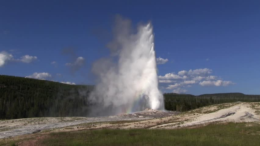 Old Faithful geyser erupts in Yellowstone National Park.
