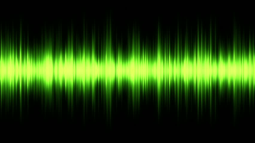 spectrum analyser HD stock footage. A visual display of sound as seen on a sound mixer or amplifier in green.