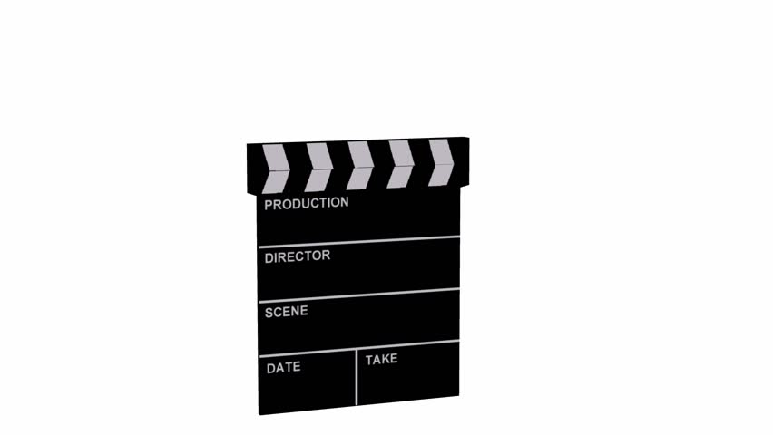 5 second long animated film clapboard on white background.