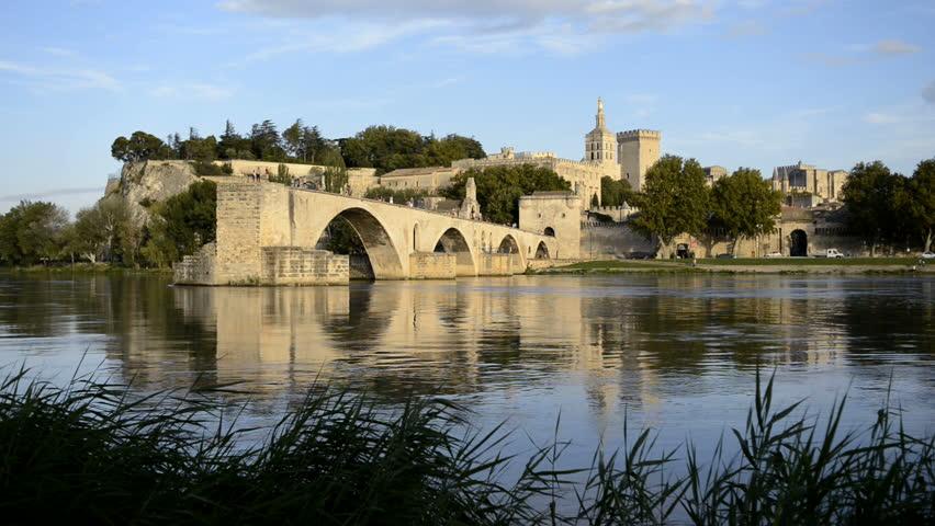 Pont St Benezet and Rhone river in Avignon France